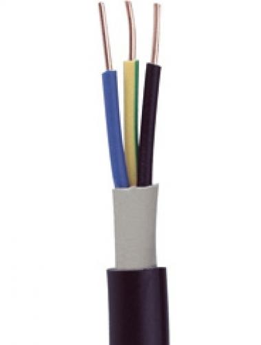 NYY-J 3x2,5 mm² Starkstrom-Erdkabel PVC Kabel schwarz Meterware