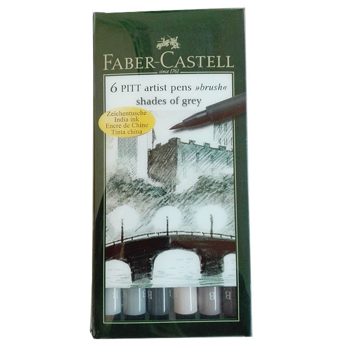 Faber-Castell 167104 Tuschestift grau B, PITT artist pens brush - shades of grey