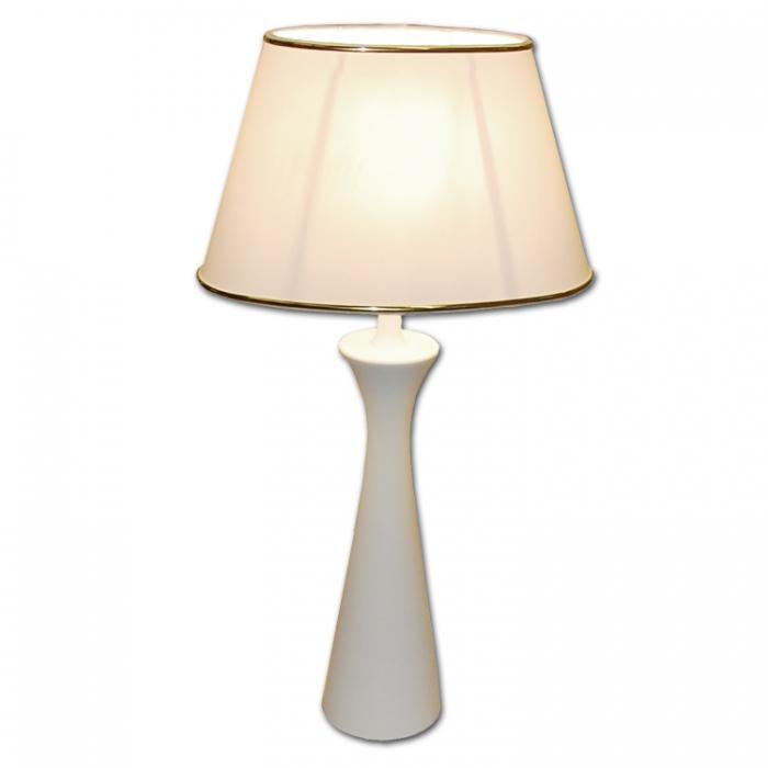 Moderne Tischlampe H47cm Lampenfuß Holz, kegelform weiß, Lampenschirm oval weiß-gold , geeignet für