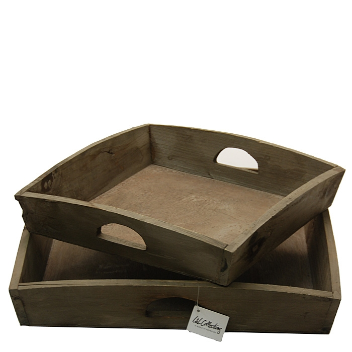 Light & Living Tablett Set 2 Trays viereckig 45-35 cm Holz antik grau-braun Landhaus Vintage Shabby Chic