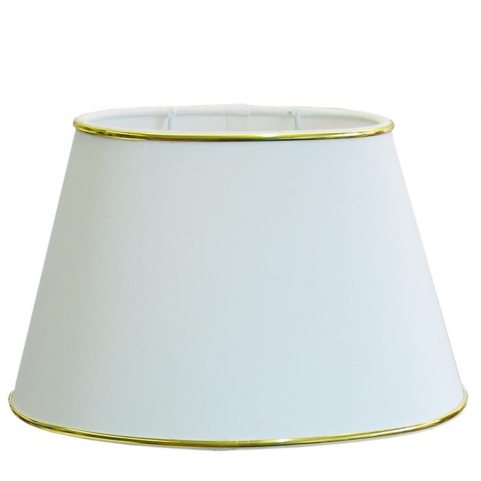Lampenschirm oval 25-15-16 weiß mit Goldrand - Aufnahme E27