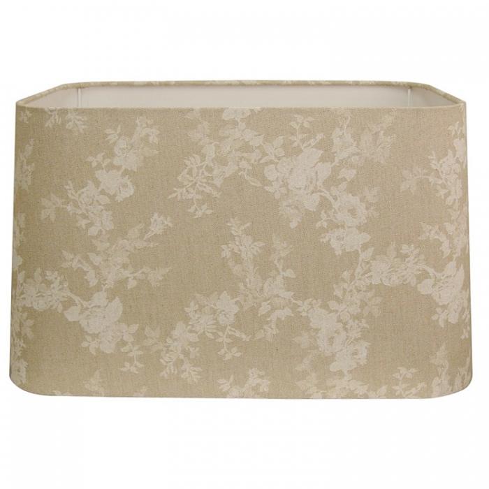 Light & Living Lampenschirm rechteckig 45x40x25cm beige Stoff mit Kreidestrich Blumenmotiv bedruckt für E27