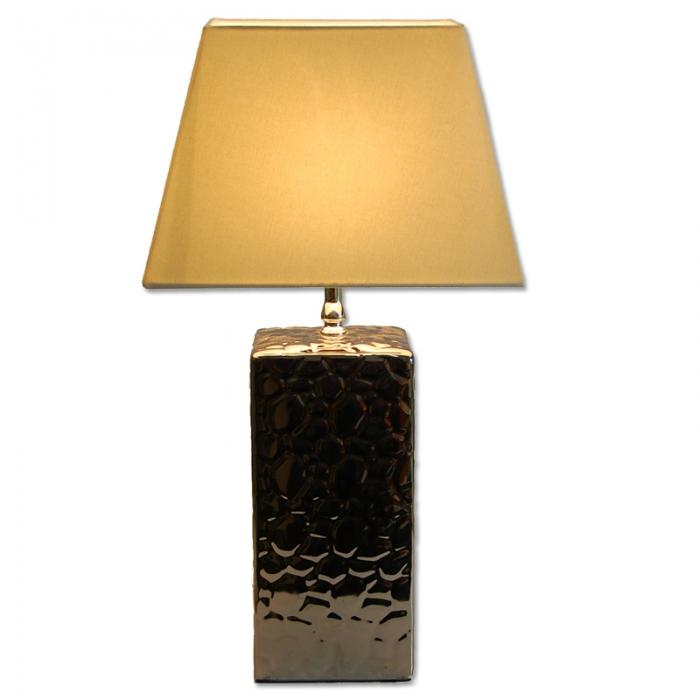 Tischlampe H53cm Keramik verchromt mit Stoff Lampenschirm rechteckig schräg in Creme