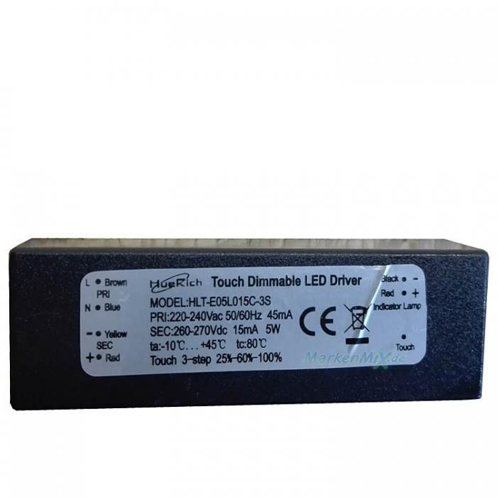 HLT-E05L015C-3S Touch Dimmable LED Driver 5W DC 260-270V 45mA dimmbar Touch 3-step 25%-60%-100% Trafo Netzteil z.B.für Trio Ventura 529990103 Netzgerät für 529990106 529990107 529990124
