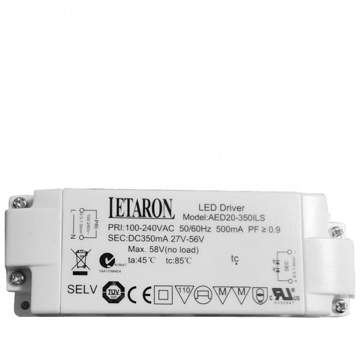 Letaron LED Driver AED20-350ILS Treiber Trafo 27V-56V 350mA max. 58VDC z.b. für Trio Ruben 620721405