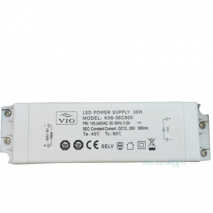 VIG K09-36C500 LED Treiber Trafo Power Supply 36W DC 12-59V 500mA z.B.für Trio Leuchten 122110706 Ersatzteil