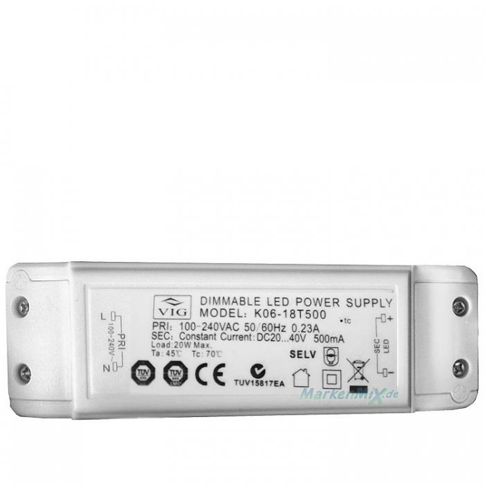 VIG K06-18T500 LED Treiber Trafo Dimmable Power Supply 20W DC20..40V 500mA Netzteil z.B.für Trio Leuchten Avenue 626310606 Netzgerät