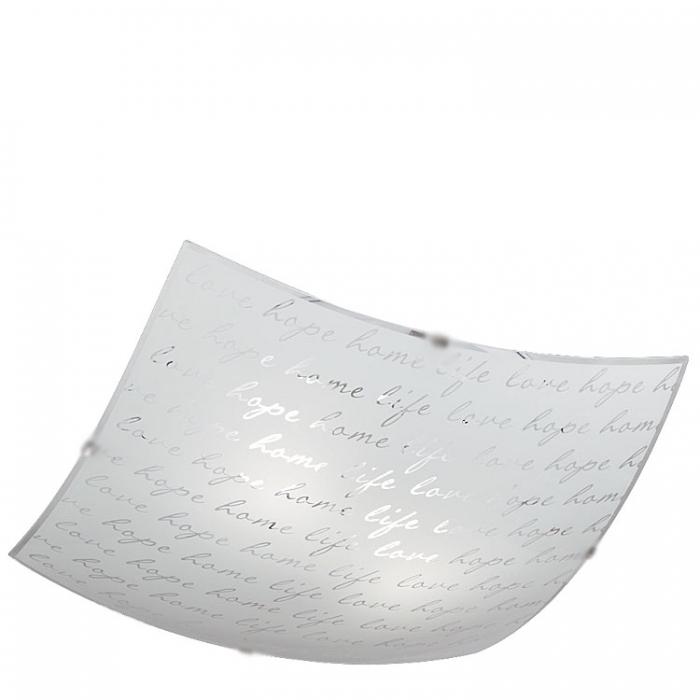 Trio Ersatzglas 92831-40 Glasschirm mit Schrift-Muster 40x40cm für Deckenleuchte Signa Lampenglas 602500201 Glasteller 4017807364958  Trio-Lighting Arnsberg 4017807364958