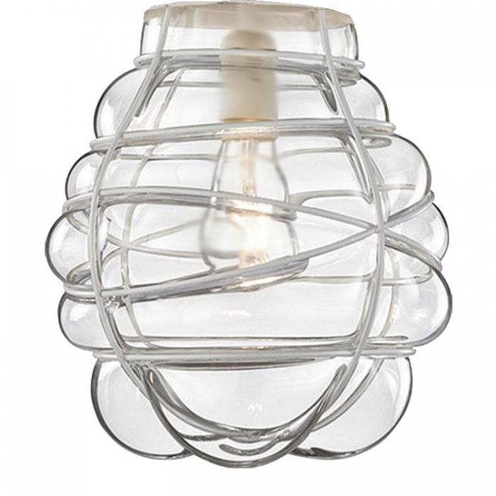Trio Ersatzglas Ø 26,5cm Lampenglas klar/ weiß antik für Pendelleuchte Edda 340100127  Ersatzschirm 4017807334449 Lampenschirm Glasschirm 4017807368895 Glashaube Abdeckglas