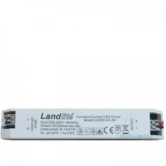 Landlite LD350-A3-A8 Constant Current LED Driver 6-12 x 1W DC 350mA max 48V Netzteil z.B. für Sorpetaler Bagno Quadra 480556 Netzgerät