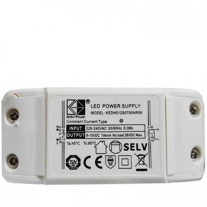 Kegu Power KEDH012S0700NR06 Constant Current LED Power Supply Driver Treiber Trafo 8-15V DC 700mA Netzteil z.B. für Trio Leuchten Casillas Netzgerät zu 223570207 223570228