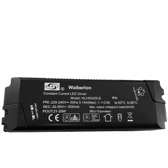 Waiberlon HLV50025LB Constant Current LED Driver 21-25W  Trafo 42-50V 500mA z.B. für Trio Leuchten MIQUEL 628412107