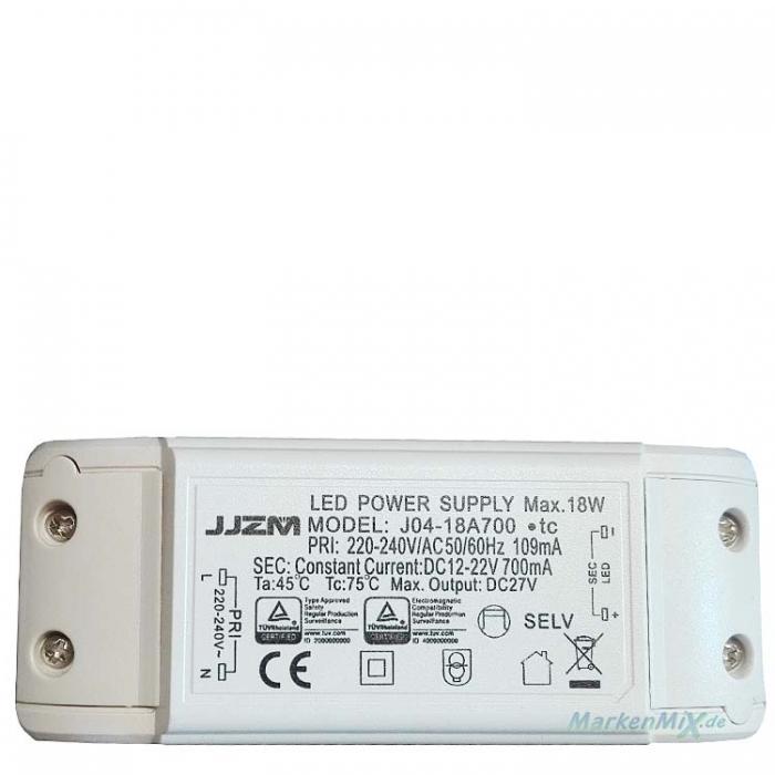 JJZM J04-18A700 LED Treiber Power Supply Driver Constant Current DC12-22V 700mA 18W Trafo Netzteil z.B.Trio Stakkato 377310307 Netzgerät Trio-Lighting Arnsberg