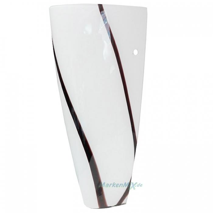 Trio Ersatzglas 9211 Art Glas weiß mit schwarzen Streifen für Wandleuchte 2547011-07 Ersatzschirm Glasschirm Abdeckglas
