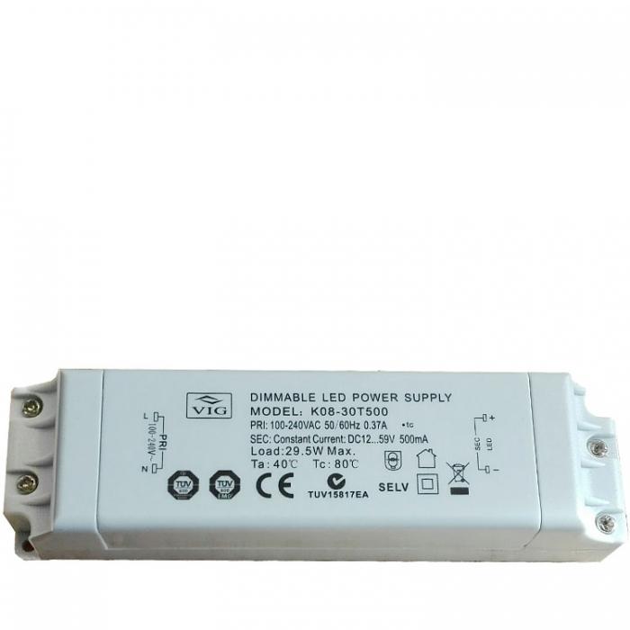 VIG K08-30T500 LED Treiber Trafo Dimmable Power Supply 29,5W DC12...59V 500mA Ersatztrafo Netzteil z.B.für Sorpetaler Stampa S 335500 Ersatzteil Netzgerät