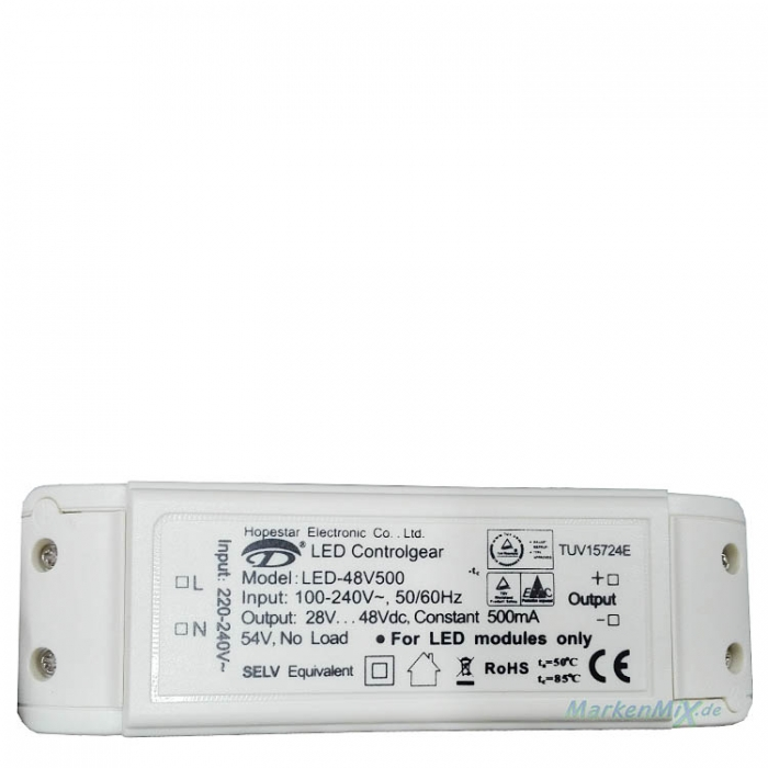 Hopestar LED-48V500 Treiber Controlgear Trafo DC28-48V 500mA 100-240VAC  Netzteil z.B. für Trio 329810407 Ersatztrafo Ersatzteil Netzgerät   Trio-Lighting Arnsberg