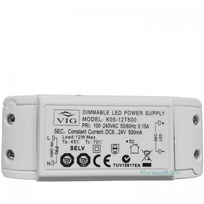 Ersatztrafo VIG K05-12T500 LED Treiber Trafo Dimmable Power Supply 12W DC6-24V 500mA dimmbar z.B.Ersatzteil für Sorpetaler Leuchten Ancona 235210 LED