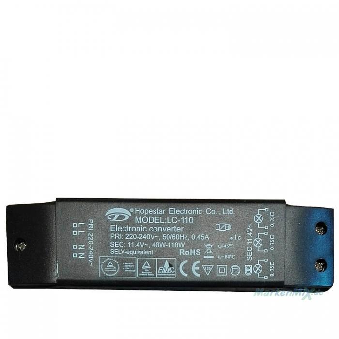 Hopestar LC-110 Halogen Trafo 40-110W 11,4V AC 0,45A Electronic Converter Halogentrafo z.B. für Ersatztrafo z.B. für Sorpetaler Leuchte Nicola Ersatzteil