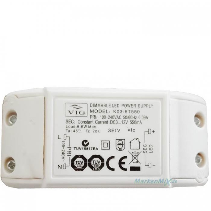 VIG K03-6T550 LED Trafo Treiber Dimmable Power Supply 6,6W Netzteil DC3-12V 550mA dimmbar Ersatzteil z.B.für Sorpetaler Fernandez LED 700170 700175 4021273212828
