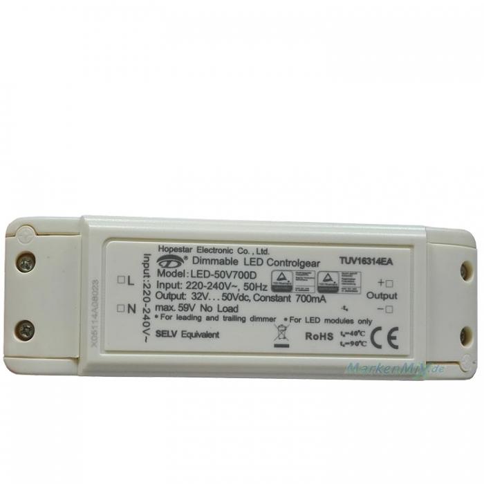 Hopestar Electronic LED-50V700D Treiber Dimmable Controlgear Trafo DC32-50V 700mA Netzteil z.B. für Sorpetaler Barca 275610