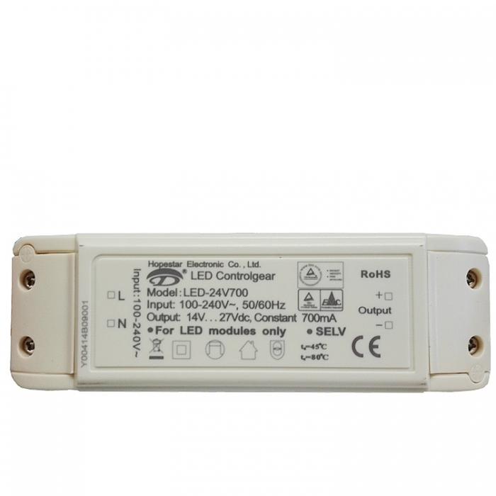 Hopestar Driver LED-24V700 Treiber Controlgear Trafo DC14-27V 700mA 100-240VAC Ersatztrafo Netzteil z.B. für Trio 626010307 Ersatzteil zu 628910306  Netzgerät