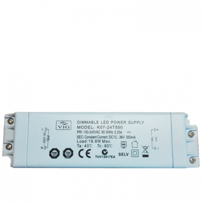 VIG K07-24T550 Dimmable LED Power Supply Treiber Trafo dimmbar 12-36V 550m z.B. für Sorpetaler Melissa 700260