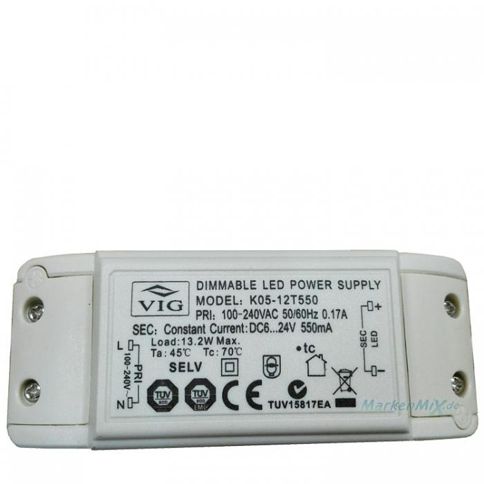 Ersatztrafo VIG K05-12T550 LED Treiber Trafo Dimmable Power Supply 13W DC6-24V 550mA dimmbar z.B.Ersatzteil für Sorpetaler Leuchten Elina 700430 LED