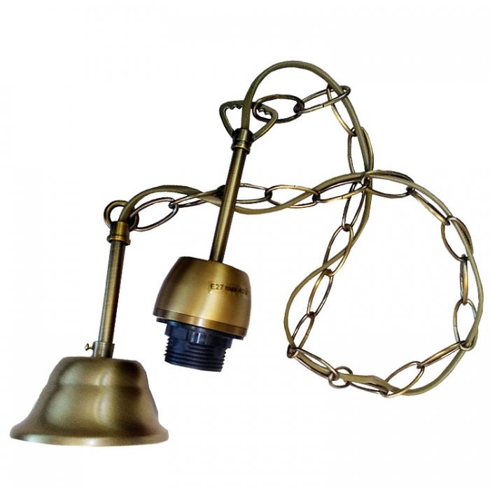 Messing Kettenpendel mit E27 Fassung Lampenpendel mit Baldachin 1,07m lang, Lampenaufhängung mit Kette, Lampenaufhängung,