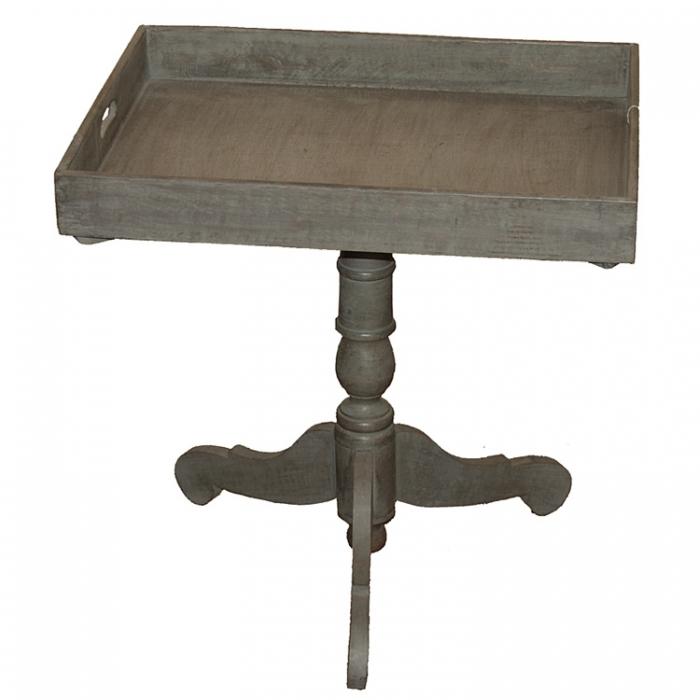 Light & Living 6234227 Stilvoller Tablett-Tisch aus Holz Beistelltisch im antiken Landhaus Stil Shabby Look 50x45x60 grey 8717807080563