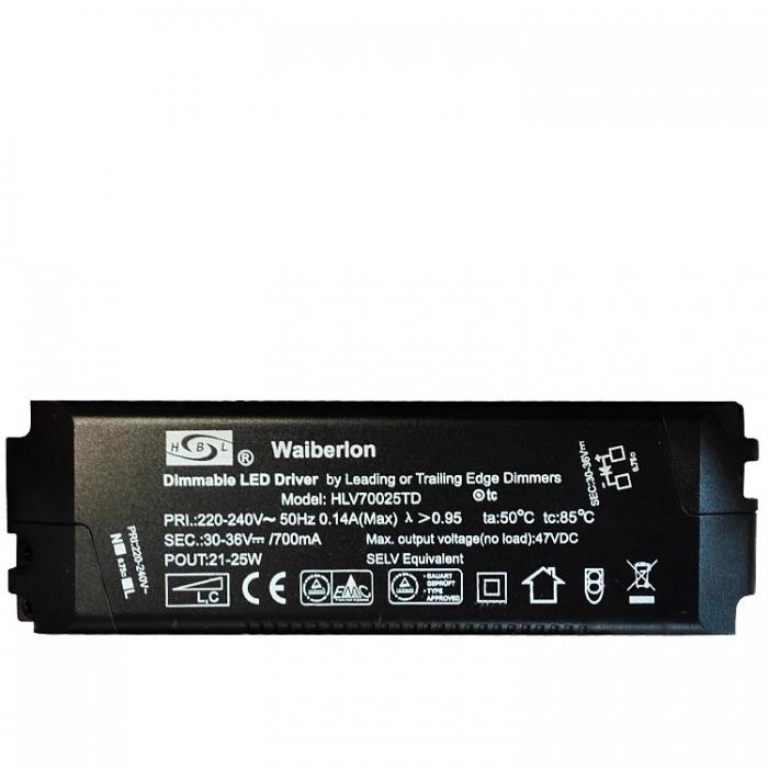 Waiberlon HLV70025TD Dimmable Constant Current LED Treiber Trafo 12-35V 700mA  z.B. für Sorpetaler Leuchte Calina 680340