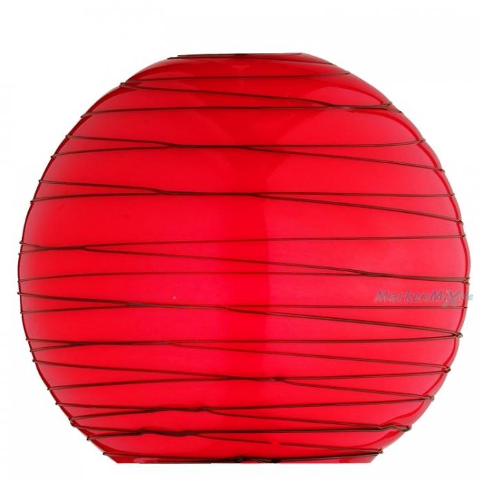 Trio Ersatzglas 9482-10 Glasschirm rot mit schwarzen dekorativen Linien Kugelglas Ø 20cm für Pendelleuchte 3438011-10  Glasglocke 343801110 Kugelglas Glashaube Glaskugel Kugelglas 4017807125221  Trio-Lighting Arnsberg 4017807128222