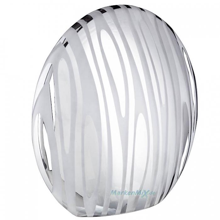 Trio Ersatzglas 92353 Glasschirm galvanisiert klar / chrom bedampft Lampenglas für Tischleuchte 516400106  Glas zu 4017807211054 Lampenschirm 4017807209839 Glashaube