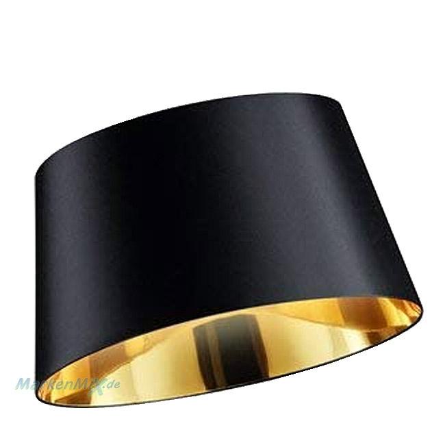 Trio Ersatzschirm Stoffschirm schwarz mit goldener Beschichtung Ø 50cm für Bogenleuchte Linz 467400102 Lampenschirm 4017807358988 4017807364101