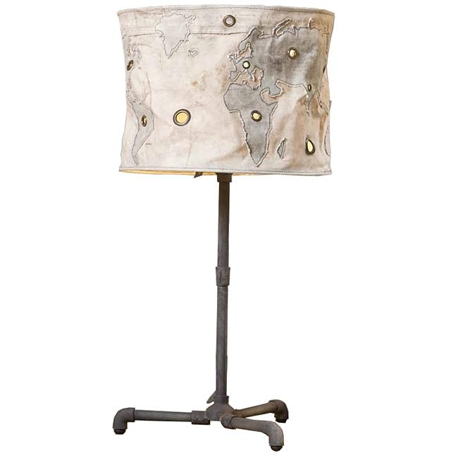 Light & Living Lampe aus Metallrohr PLUMBING  H83cm rustikal Industrial Shabby Retro Schirm Globe Nieten
