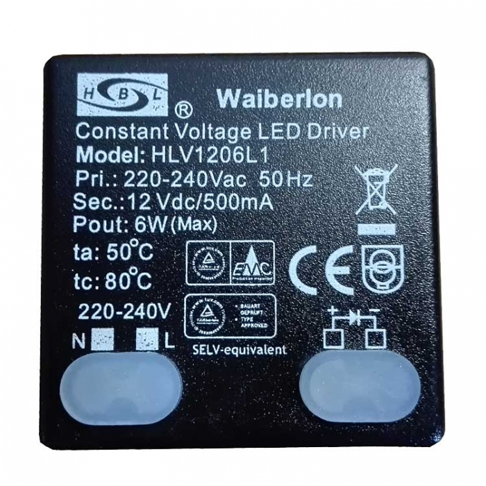 Waiberlon HLV1206L1 Treiber Constant Voltage LED Driver Trafo 12V 500mA z.B. für Eglo Aggius 31501