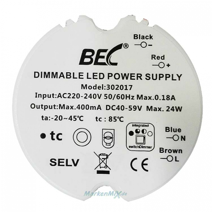 BEC 302047 Dimmable LED Power Supply Driver 24W DC 40-59V 400mA Trafo integrierter Switch Dimmer 3-step 25%-50%-100% Netzteilz.B.für Trio Oregon 657710100 Netzgerät