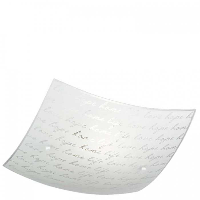 Trio Ersatzglas 92831-30 Glasschirm mit Schrift-Muster 30x30cm für Deckenleuchte Signa Lampenglas 602500101Glasteller 4017807364941 Trio-Lighting Arnsberg 4017807376784