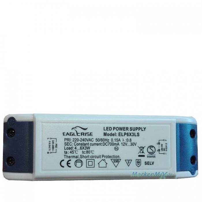 Eaglerise LED Power Supply Treiber ELP6X3LS Constant Current Trafo 12V-30V 700mA Ersatztrafo Netzteil z.B. für Trio Leuchte Ersatzteil Eglo Hania1 - 92344 Netzgerät