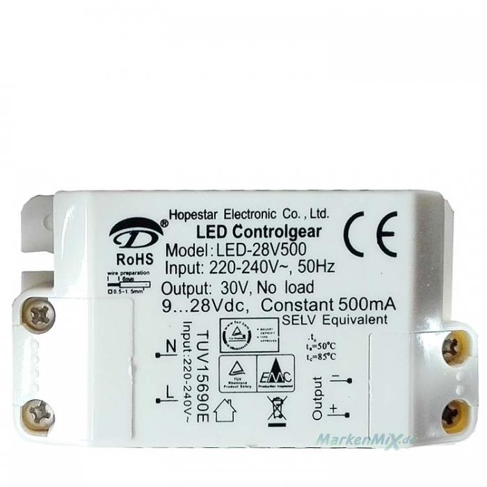 Hopestar Electronic LED Controlgear Driver LED-28V500 Treiber Trafo 30Vdc, 9V...28V Constant 500mA Ersatztrafo Netzteil z.B. für Trio Dawn Ersatzteil zu 329210105 Netzgerät