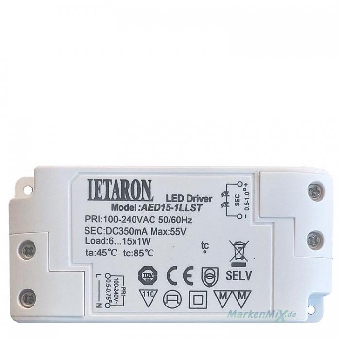 Letaron LED Driver AED-15-1LLST Treiber 350mA max. 55V Trafo 6...15x1W z.b. für Eglo Musero 93796 Netzteil Ersatztrafo z.b. für Eglo Ersatzteil