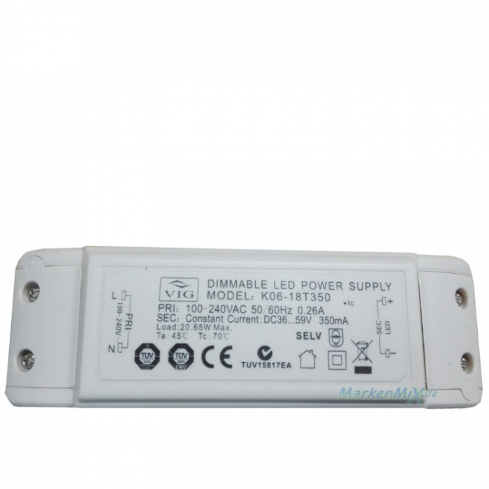 VIG K06-18T350 LED Treiber Trafo Dimmable Power Supply 20,65W DC36...59V 350mA  z.B.für Sorpetaler Leuchten Alessia 725325