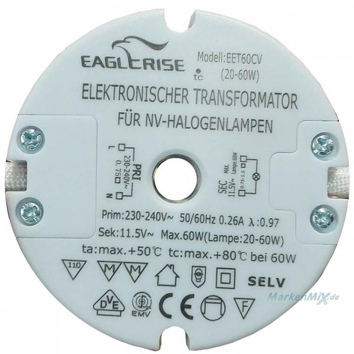 Eaglcrise EET60CV Halogen elektronischer Trafo 20-60W 11,5V AC 0,26A  z.B. für Sorpetaler Elina 225131