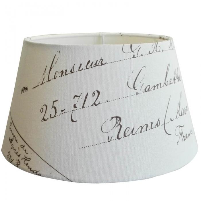 Light & Living Lampenschirm rund Ø 25cm Postmark taupe auf weiss für E27 Fassung  25-18-14 cm 8717807073701 2025859