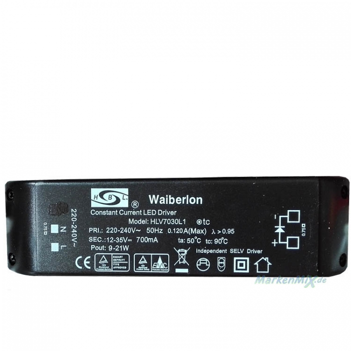 Waiberlon HLV7030L1 Treiber Constant Current LED Driver Trafo 12-35V 700mA  z.B. für Honsel Vigo 65034