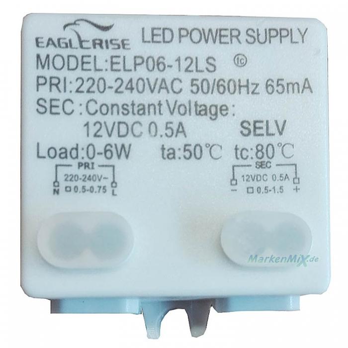 Eaglerise LED Power Supply Treiber Constant Voltage 12V DC 0,5A Trafo Ersatztrafo z.B. für Eglo Frossini 92217 Ersatzteil