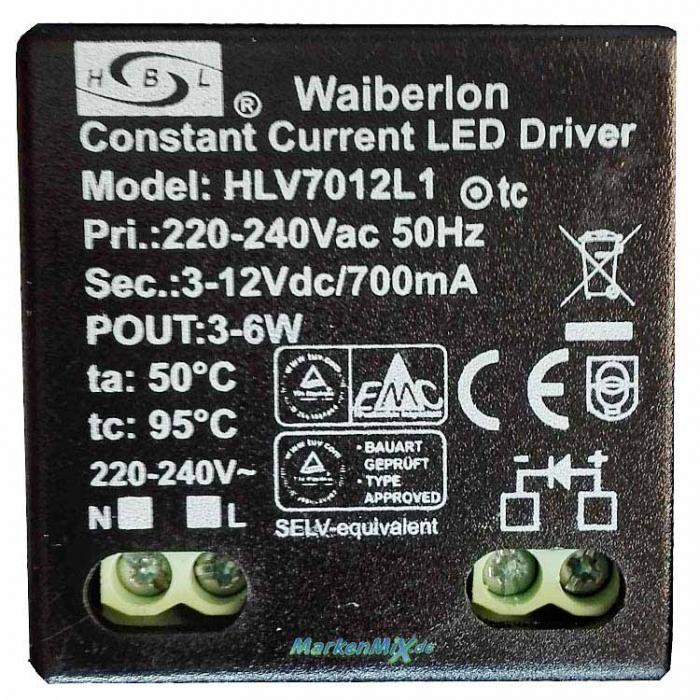 Waiberlon HLV7012L1 Constant Current LED Driver 3-12Vdc 700mA Netzteil für Sorpetaler Torch 435500