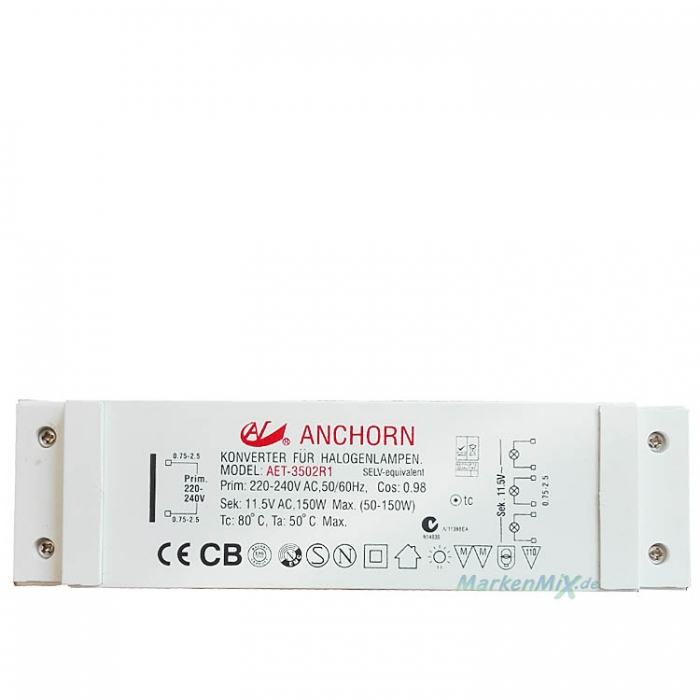 Anchorn AET-3502R1 Halogen Trafo 150W 11,5V AC Netzteil dimmbar Konverter für Halogenlampen z.B. für Sorpetaler Livorno 235300  SLH Goller GmbH