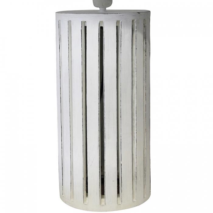 Light & Living Lampenfuss 7022873 aus Holz rund Ø20xH48cm in antik weiss für Tischlampe 8717807058593