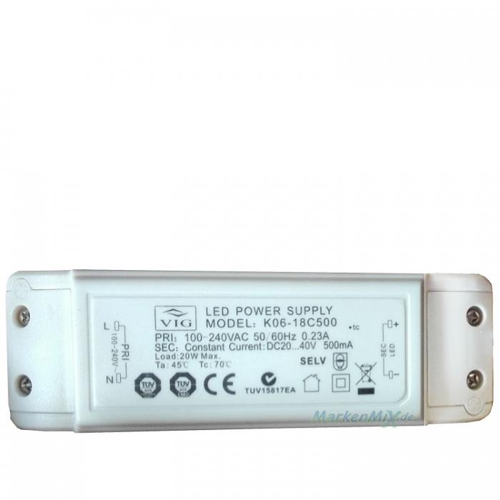 VIG K06-18C500 Treiber Trafo LED Power Supply 20W DC20..40V 500mA