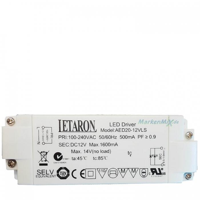 Letaron LED Driver AED20-12VLS Treiber 12V DC 1600mA Ersatztrafo z.b. für Eglo Aggius 31502 Netzteil Ersatzteil